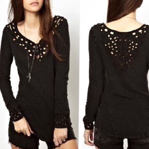 Free People Blue Luna embroidered cutout henley top